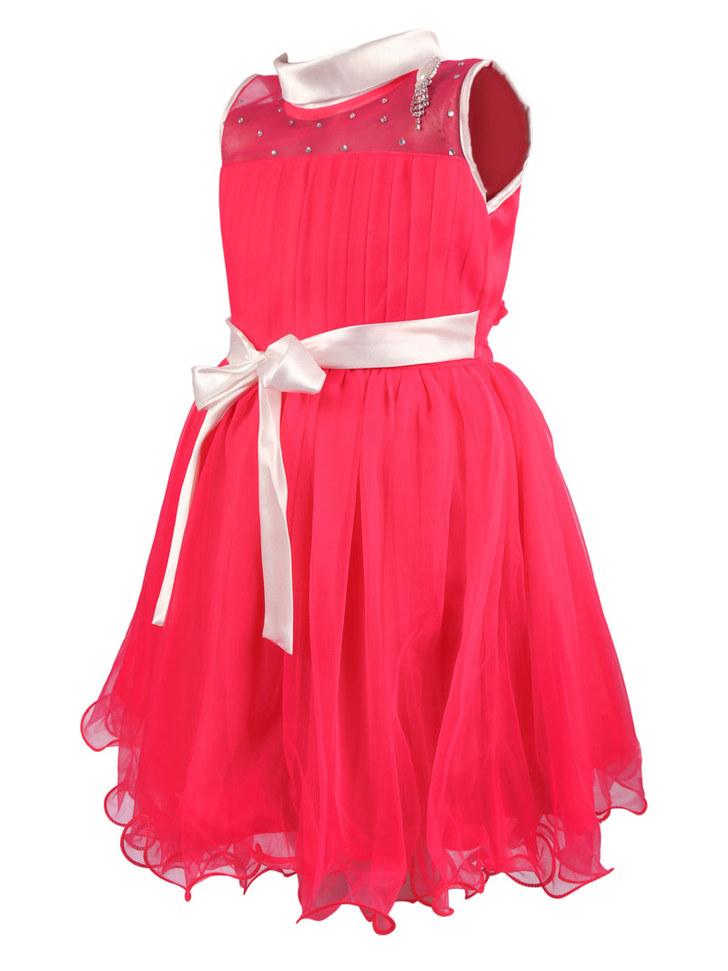Classic Net Party Gown For Girls- Pink