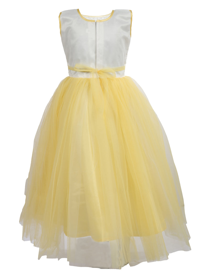 White & Yellow Net Party Gown- Yellow