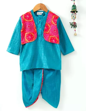 Bandhani Print Attached Jacket Dhoti Kurta- Blue - BownBee - Creating Special Moments