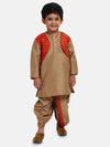 Attached Jacket Jacquard Dhoti Kurta For Baby Boys- Brown
