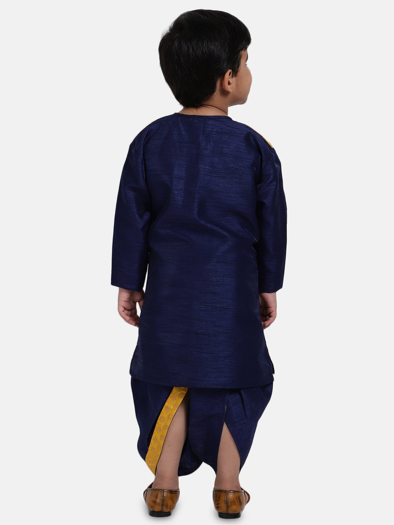 Attached Jacket Jacquard Dhoti Kurta For Baby Boys- Navy Blue