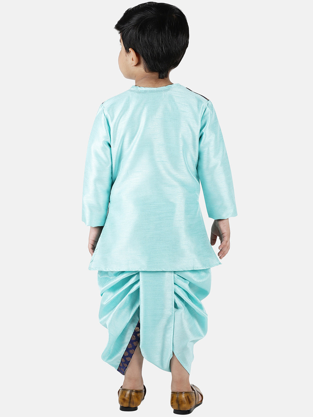 Attached Jacket Jacquard Dhoti Kurta For Baby Boys- Sky Blue