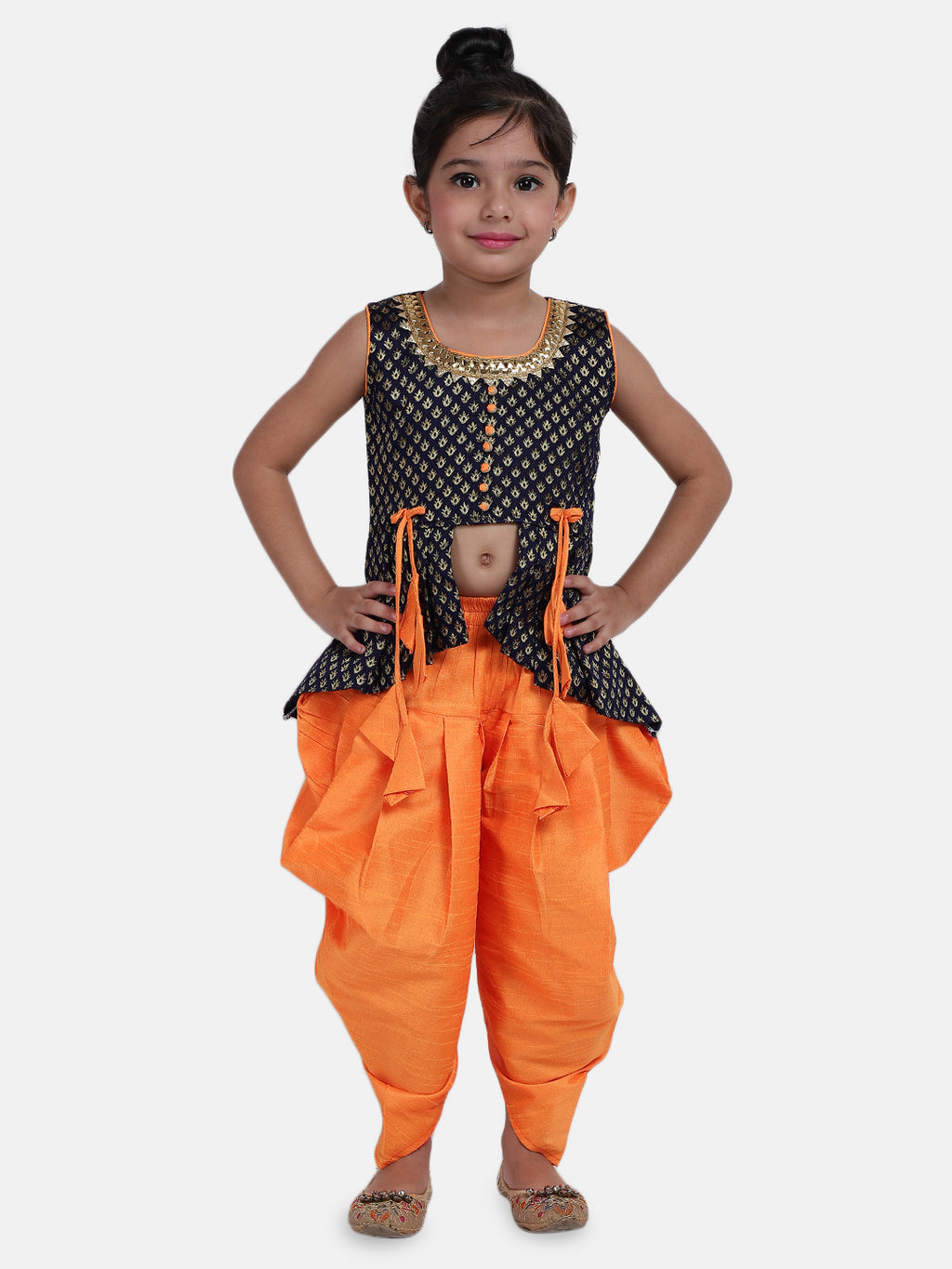 High-Low Festive Peplum Dhoti For Baby Girl- Blue