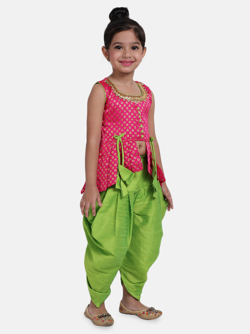 High-Low Festive Peplum Dhoti For Baby Girl- Pink