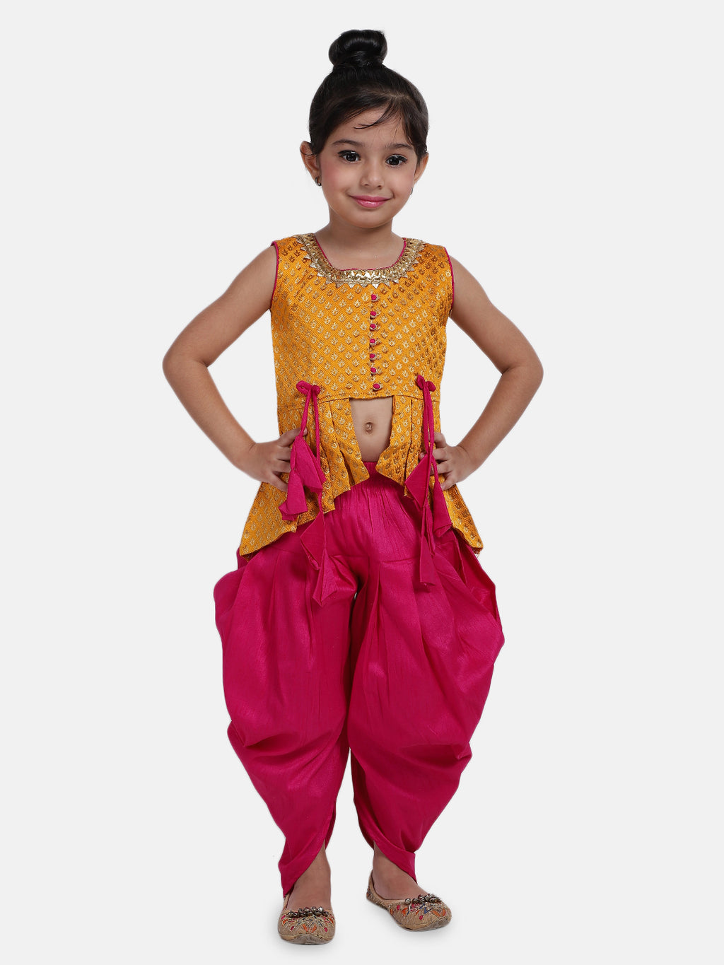 High-Low Festive Peplum Dhoti For Baby Girl-  Yellow