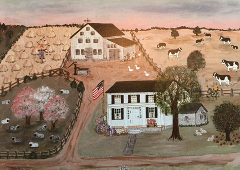 Historic Brown Homestead Folk Art Print