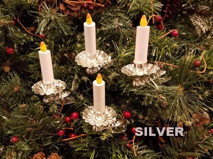 Set of 4 Candles with Silver Base - Barker Ornaments