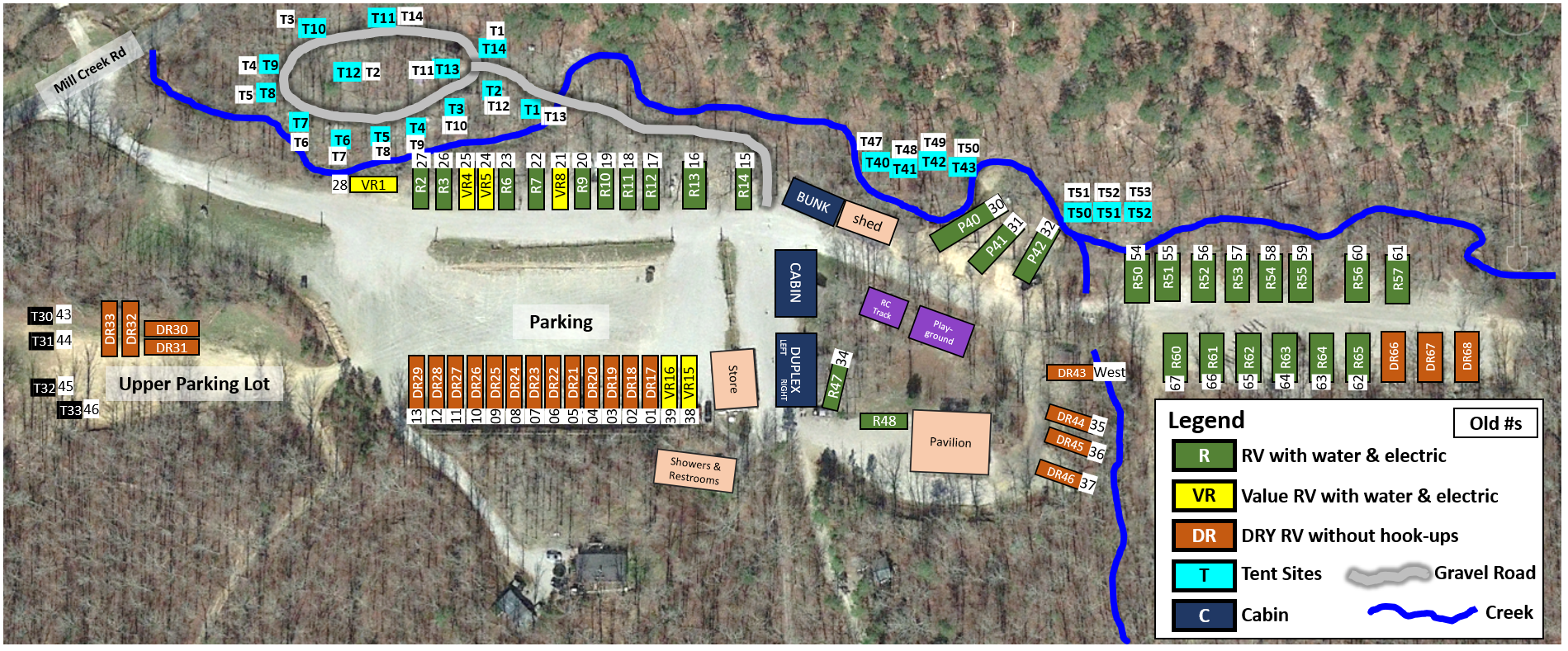 Campground Map with new and old numbers
