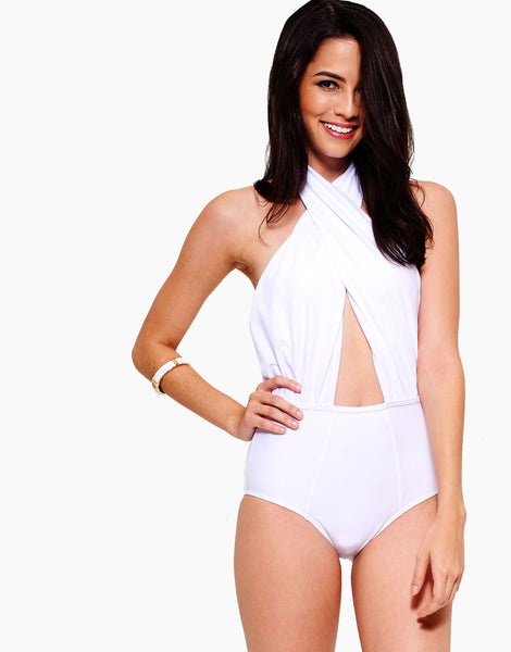 ATELIER Cross Wrap One-Piece Pure White