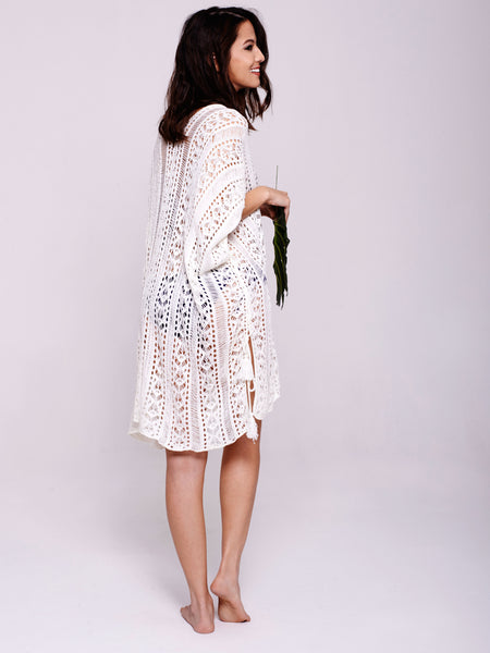 BAYU Crochet Overswim in White
