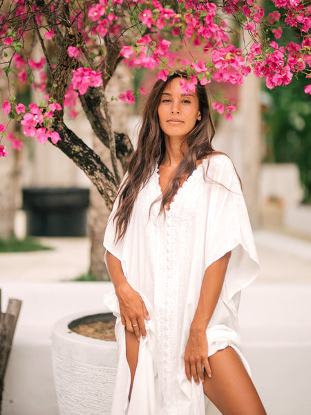 BODHI Long Kaftan in White