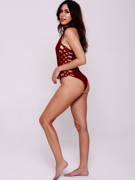 KIR Halter One-Piece in Wine Red