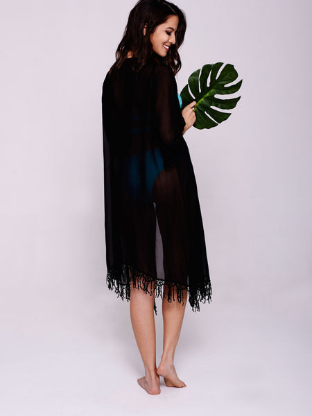 MALI Tassel Kaftan in Black