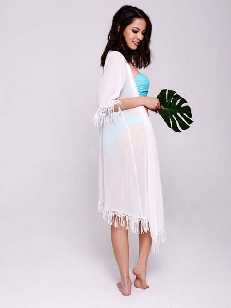 MALI Tassel Kaftan in White