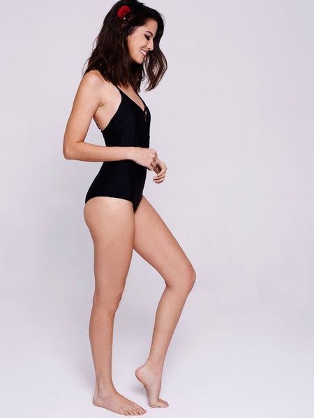 MARINA Lace-Up One-Piece in Black