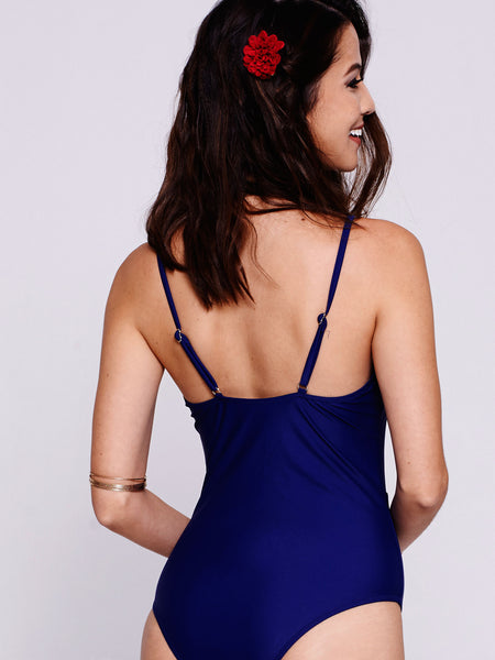 MARINA Lace-Up One-Piece in Navy