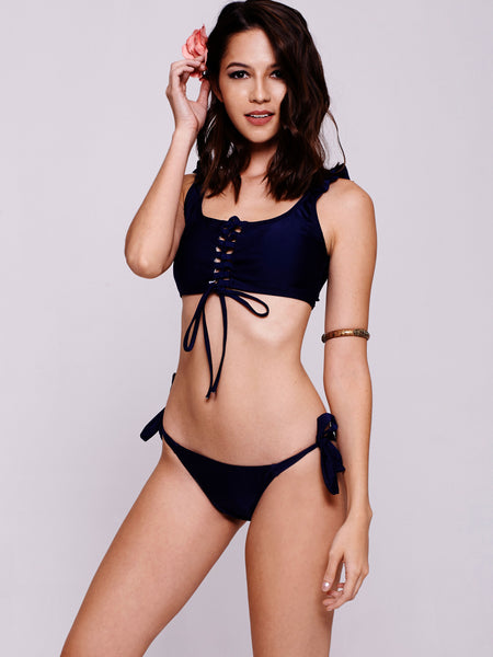 RAMA Lace-Up Bandeau in Navy
