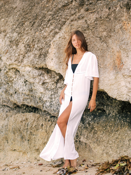 SANARA Long Kaftan in White