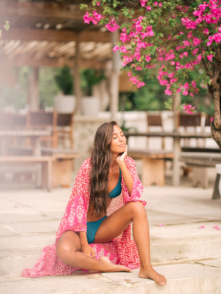TAMARA Long Kaftan in Pink