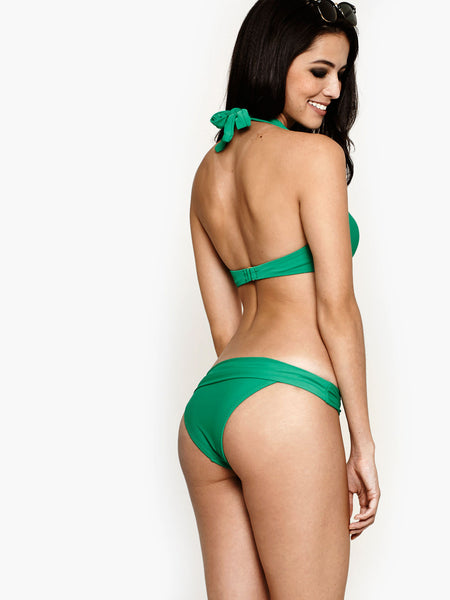 THE HANGER Ruched Halter Jade Green (size S only)