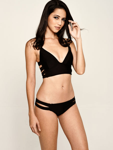 VISTA Long Line Tri Bikini Set in Black