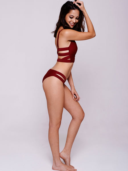 VISTA Long Line Tri Bikini Set in Wine Red