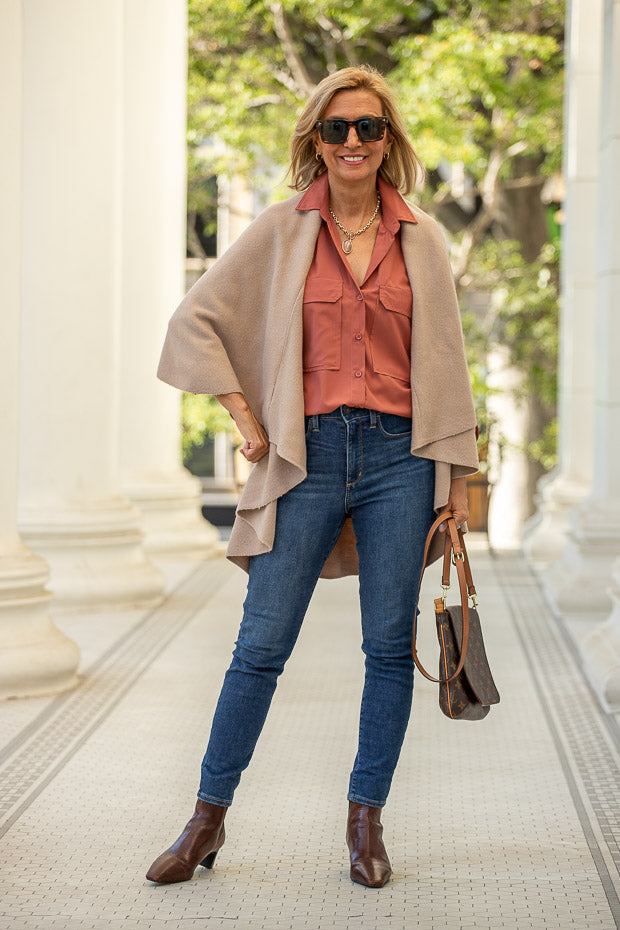womens Tan cape vest with sienna shirt for fall