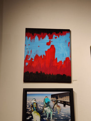 darkreconstruction abstract art vampire protest painting red blue and black evangelion aesthetic access art brooklyn