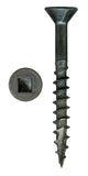 "# 8-11 X 1"" Square Flat Head With Nibs Under Head Coarse Thread Type17 Black Phosphate/Wax Screws"
