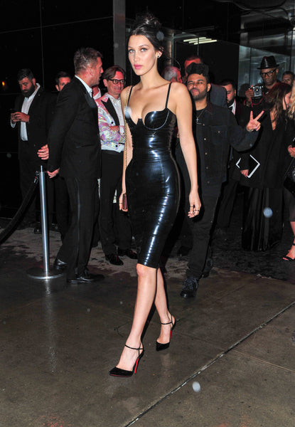 Bella-Hadid-Black-Leather-Dress