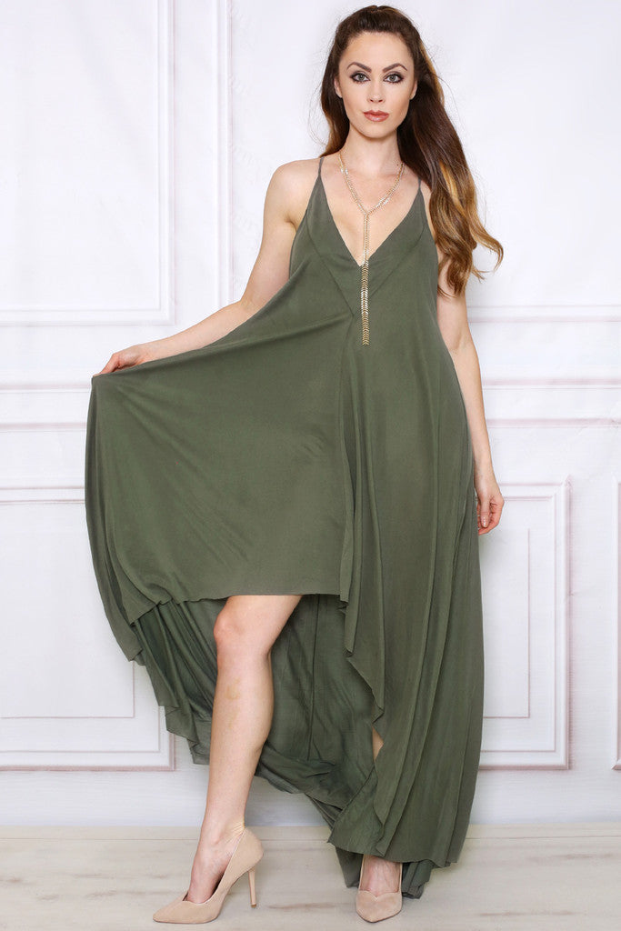Green Khaki Maxi Dress