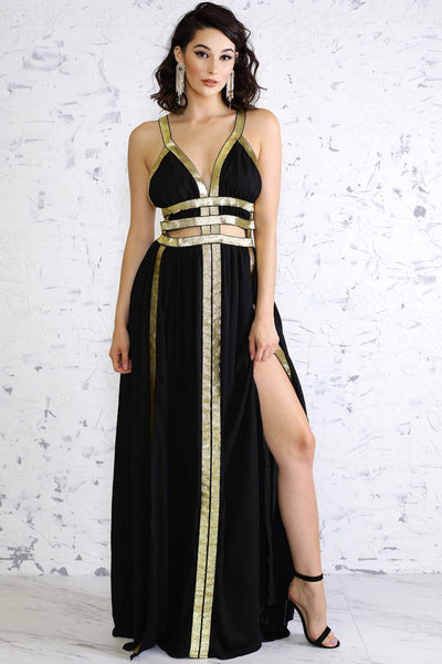 Black and Gold Maxi Dress