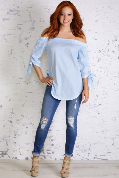 baby blue off the shoulder long top