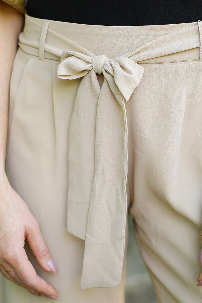 Tan Pants With Bow