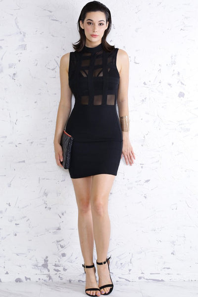 Square Mesh Black Mini Dress