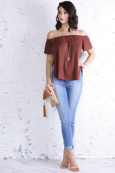 earth tone off the shoulder top