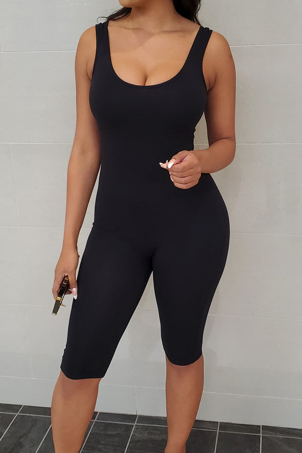 Women's black basic tank midi romper - knowstyle