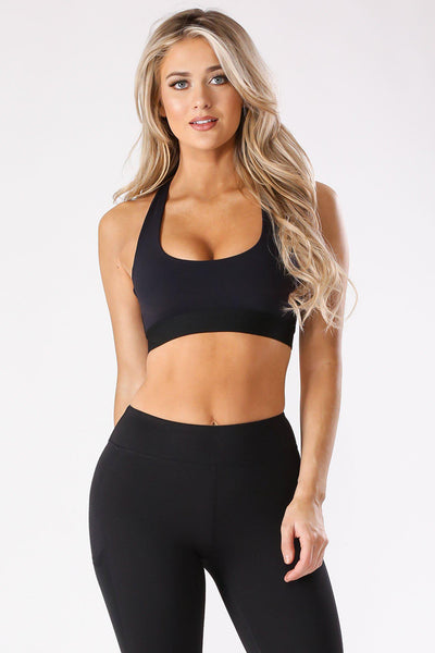 Double Star Strap Sports Top-S-Black-AT1918-KNOWSTYLE