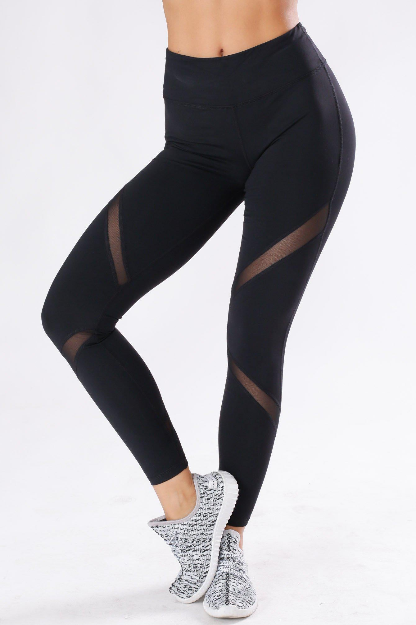 Flexible Cross Mesh Panel Leggings