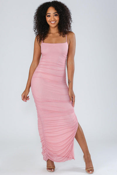 Polished Ruched Maxi Slit Dress