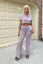 Seventeen Crop Top & Wide Leg Pants Set