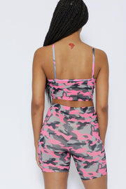 Chillin Camo Print Spandex Crop Top & High Rise Shorts SET--KNOWSTYLE