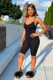 Women's black Knit Tight Short Romper-KNOWSTYLE