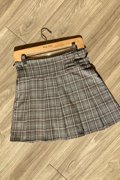 Adorable Buckled Plaid Pleated Mini Skirt-Small-Multi-KNOWSTYLE