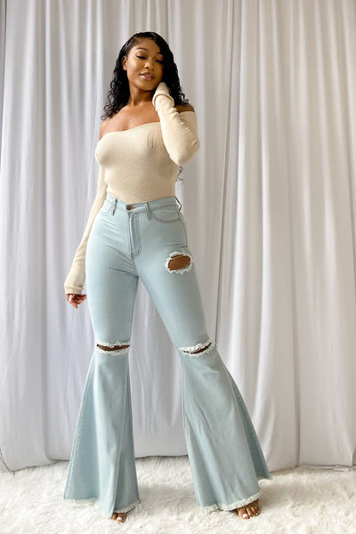 All By Myself Off the Shoulder Knit Bodysuit-KNOWSTYLE