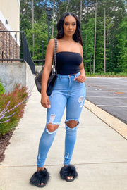 Another Day High Rise Knee Holes Jeans-3-Denim-KNOWSTYLE