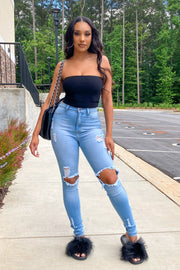 Another Day High Rise Knee Holes Jeans-KNOWSTYLE