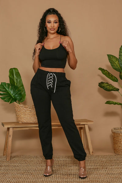 Bad Behavior Crop Top & Lace-Up Jogger Pants SET-Small-Black-KNOWSTYLE
