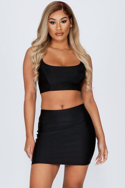 Big Shot Satin Crop Top & Mini Skirt Set-S-Black-KNOWSTYLE