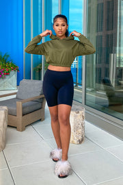 Everyday Hoodie Cropped Basic Top-S-Olive-KNOWSTYLE